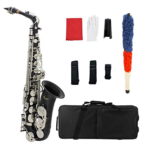 BLKykll E Flat Professionele Alto Saxofoon Sax, Student Alto Saxophone Egold Lak Alto Sax Volledige Kit Uitgerust met Een Mondstuk, Hoed, Handschoenen, Borstel, Fluwelen Doek, Band