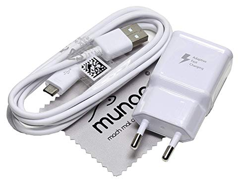 Ladegerät für Original Blitz Schnell Samsung 2A USB + 1,5m Daten Ladekabel für Samsung Galaxy J6 (J600F) Galaxy J6 Plus Duos (J610F) mit mungoo Displayputztuch