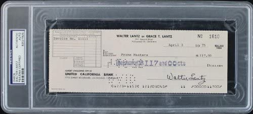 Walter Lantz Popularity Woody Woodpecker Authentic Signed DN 1975 Raleigh Mall Check PSA