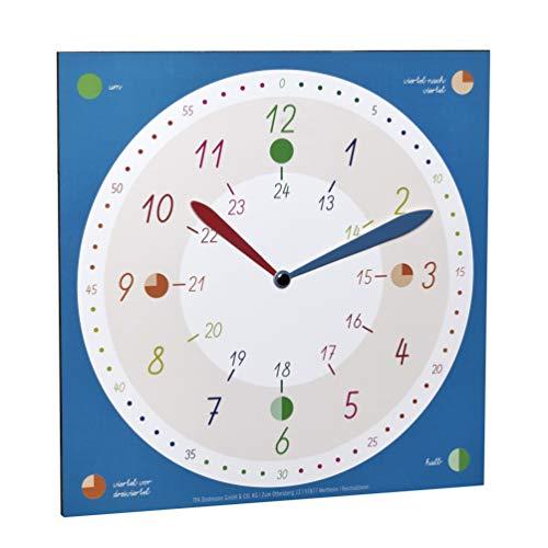TFA Dostmann Lernuhr für Kinder, 98.1123.06, für Jungen und Mädchen, Kinderuhr, Uhrzeit Lernen, farbenfroh, Blau, L310 x B20 x H340 mm