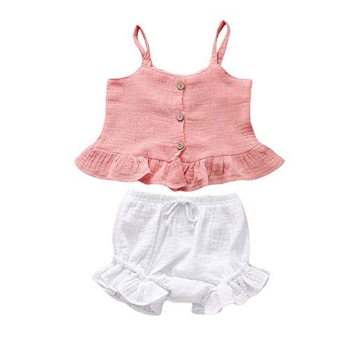 Yingshu Ropa Verano para Bebés 2piezas para Bebé Recién Nacido Niña Sling Top Corto Pantalones Cortos Ropa Ropa 12M-5Y