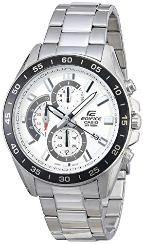 Casio Men's Edifice Stainless Steel Quartz Watch with Stainless-Steel Strap, Silver, 4 (Model: EFV-550D-7AVCR)