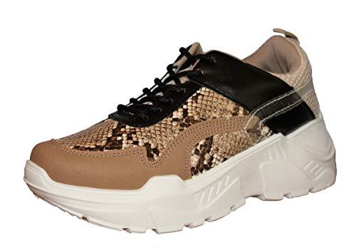 Zabaione Chunky Sneaker, Gr. 38, Plateau, Weiß, Animal Print, Snake, Beige, Schwarz, (38, Snake)