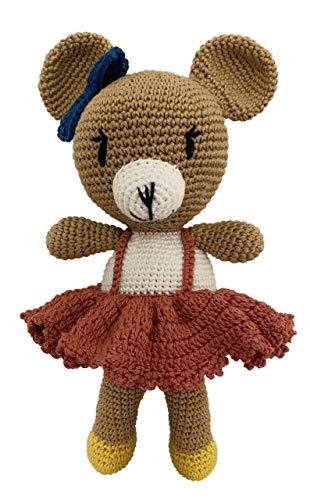 LOOP BABY gehäkelter Teddy-Bär Bettina - gehäkeltes Kuscheltier Baby/Mädchen/Junge aus Baumwolle