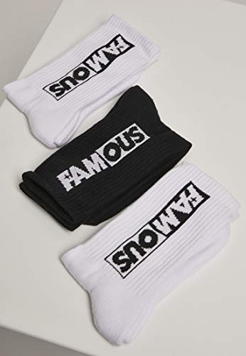 Famous Unisex Famous Socks 3-Pack FA059, color:wht/blk/wht, size:39-42