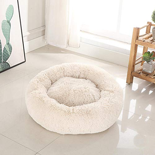 Promworld Reversible Pet Bed,Deep sleep kennel cat kennel-Beige_40cm in diameter,Calming Dog Bed Cat Bed Donut