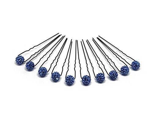 10 x Haarschmuck Strass Kugel - auf schwarzen Haarnadeln | PS-HS-Blau
