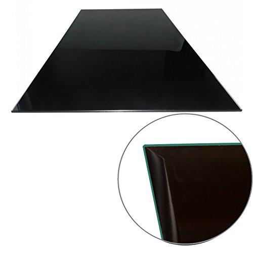 Euro Tische Glasplatte für Kaminofen 100 x 60 cm - Glasscheibe mit 6mm ESG Sicherheitsglas - perfekt geeignet als Funkenschutzplatte - Schwarz