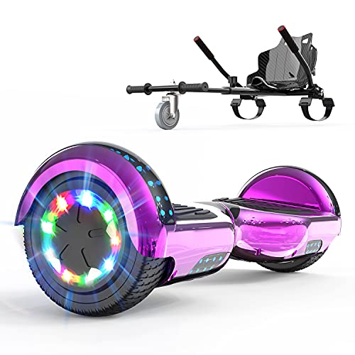 NEOMOTION Hoverboard and go kart bundle with Hoverkart Bluetooth LED Light Hover board for Kids Teenagers Adults