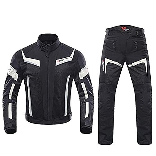 LITI Traje De Moto 2 Piezas Chaqueta Moto Y Pantalones con Armadura para Hombre De Toda Estaciòn