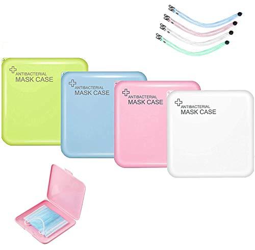 TUOCO Masken-Aufbewahrungsbox, 4 Stück Aufbewahrungsbox für Gesichtsbedeckung, Tragbare Aufbewahrungsbox, Aufbewahrungsbox für Staubmasken, Aufbewahrungstasche für Masken mit 4 Stück Maske Kehlkopf
