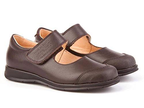 Zapatos Merceditas Colegiales con Puntera Reforzada Todo Piel, Mod.463. Calzado Infantil (Talla 32 - Marrón Choclate) - AngelitoS