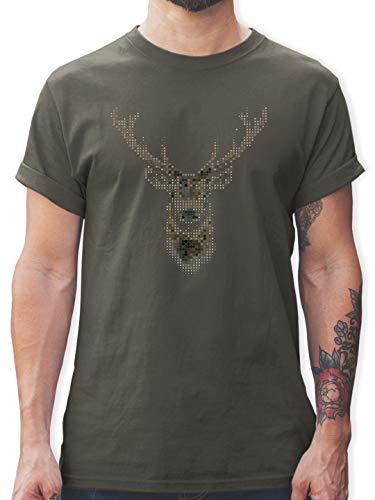 Weihnachten & Silvester - Hirsch Pixel - XL - Dunkelgrau - Tshirt Herren Hirsch - L190 - Tshirt Herren und Männer T-Shirts