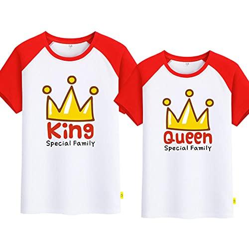 SANDA T-Shirt Familiares,Amantes del Verano 2021 Nueva Corona Camiseta de Manga Corta Hombres y Mujeres Chaqueta Casual Mangas Cortas de Dibujos Animados-Rojo y Blanco_Macho s