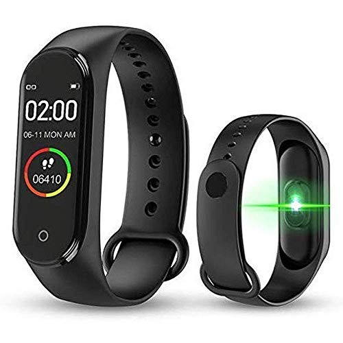 SHOPTOSHOP M3C Smart Band Fitness Tracker Watch with Heart Rate, Activity Tracker Waterproof Body Functions Like Steps Counter, Calorie Counter, Heart Rate Monitor LED Touchscreen (Black)