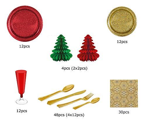[Pack ahorro] Kit de vajilla desechable elegante con decoración de mesa para navidad ideal para fiestas - Rojo y Dorado - Incluye platos, cubiertos, copas, decoración y servilletas - 12 personas