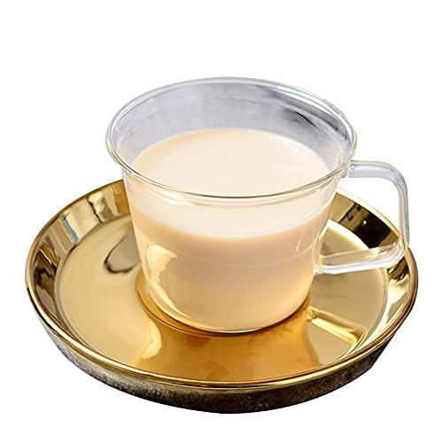 XDYNJYNL Taza de porcelana de lujo 6.76oz / 200 ml, conjunto de platillos, taza de café pintada a mano taza de té tazas con mango aislado tazas de smoothie tazas de highball gafas taza de bebida espre