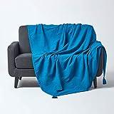 Homescapes Tagesdecke Rajput, türkis/blau, Wohndecke aus 100prozent Baumwolle, 150 x 200 cm, Sofaüberwurf/Couchüberwurf in RIPP-Optik