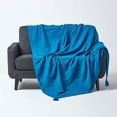 Homescapes große Tagesdecke Rajput, türkis/blau, Wohndecke aus 100prozent Baumwolle, 225 x 255 cm, Sofaüberwurf/Couchüberwurf in RIPP-Optik