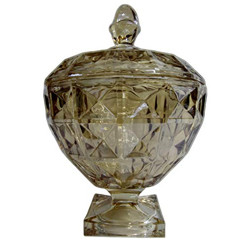 Potiche Decorativo De Cristal De Chumbo C/pé E Tampa Diamant Âmbar 17,5x24cm Wolff Adamant Amber No Voltagev
