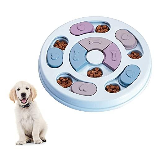 Elezenioc Hunde-Puzzle-Spielzeug, für langsames Fressen, für Welpen, Leckerli-Spender, Fressnapf für Hunde, rutschfester, IQ-Puzzle-Schüssel