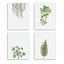 Modern green plant series Wall Art Prints Watercolor green leaves poster and print canvas painting Wall Prints for Bed Room, Living Room, Home Kitchen Wall Art Decor (Set of 4) 8x10 inch Unframed