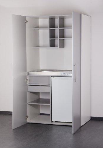 Mebasa MK0011S Schrankküche, Miniküche, Single Küche in Silber/Grau mit weißem Korpus 100 cm mit Kühlschrank, Spüle und Glaskeramikkochfeld