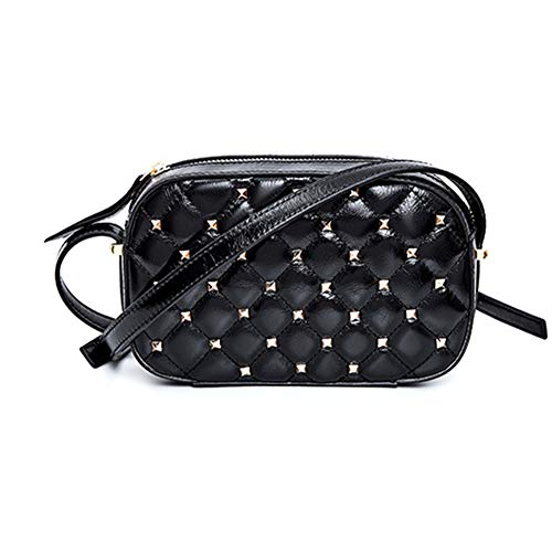 SHMONA Black Quilted Shoulder Bag Designer Handbags Purses Women's Crossbody Handbags Leather