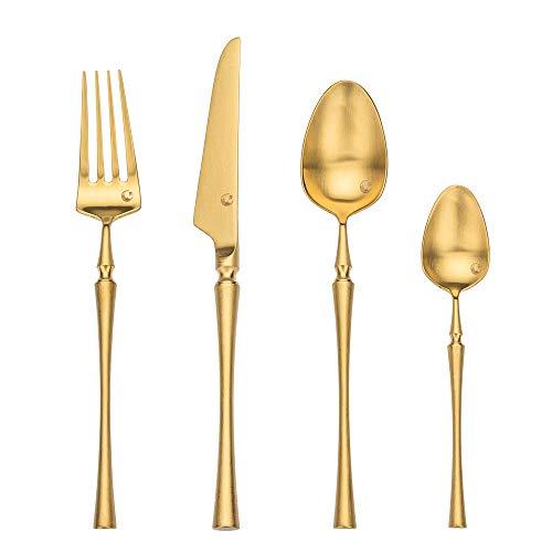 LEKOCH Matt 4-teilig 18/10 Edelstahl Kupfer Rose Gold Besteck Set Rostfrei Tafelbesteck Menübesteck für 1 Person (Gold)