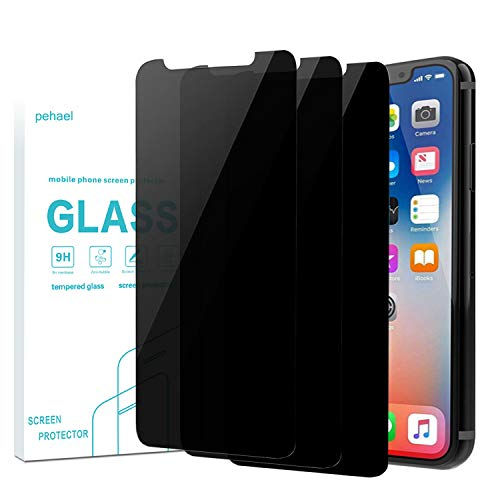 pehael Privacy Screen Protector for iPhone 11 Pro iPhone X iPhone Xs, Anti Spy Black Tempered Glass, Full Coverage, Case Friendly [3 Packs](5.8 inch)