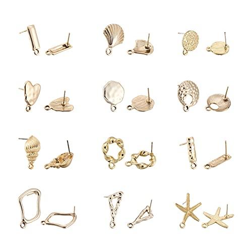 PandaHall 48 piezas de aleación de pendientes de espárragos Componentes Planos, Redondos Rectángulos, Corazón Anillo Estrella de mar, concha de vieira, Pendientes, oro claro, con lazo para hacer joyas