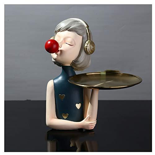 NYKK Ornamento de Escritorio Bubble Girl Mobiliario Home Living Clave de Entrada Bandeja de Almacenamiento Regalo Creativo de Vestir Elegante y Simple artesanías decoración (Color : B)