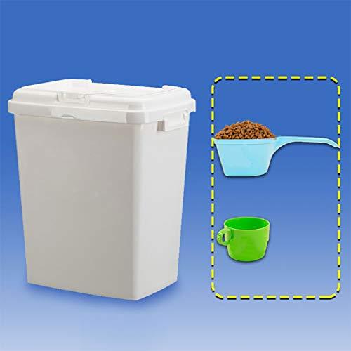 Weiße Katzen-Nahrungsmittelbehälter mit Griff Frische trockene Hunde-Nahrungsmittelvorratsbehälter mit Messbecher für Kibble-Vogelsamen-Reis und Bulk Food BPA-frei 30cmx22cmx42cm PP 10KG