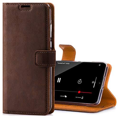 SURAZO Handyhülle für P30 Lite hülle – Premium RFID Echt Lederhülle Schutzhülle mit Standfunktion - Klapphülle Wallet case Handmade in Europa für Huawei P30 Lite
