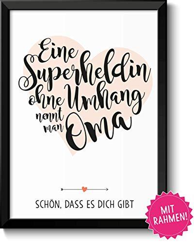 Superheldin Oma Bild im schwarzem Holz-Rahmen Geschenk Geschenkidee Danke sagen Dankeschön