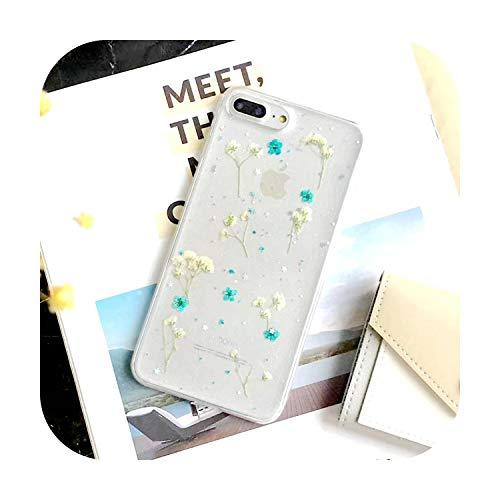 N/A 3D Rosa Herz Handyhülle für iPhone X Xsmax Xr 7 6S 8 Plus Candy Soft Silikon TPU Love Getrocknete Blumen Case Cover weiblich blau für 7Plus 8Plus