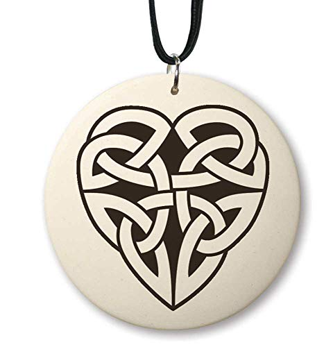 Touchstone Pottery Celtic Heart Necklace Porcelain Round Pendant