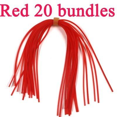 LIBAO-LURES, Gonne in silicone da 20 pacchi for spinnerbait in gomma buzzbait esche da maschera gonne a calamita costruzione mosche materiale rosso arancio verde rosa bule ( Colore : Red 20 bundles )
