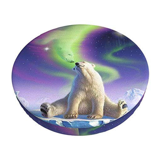Northern Lights Polar Bear Barra Redonda Funda de cojín para Silla Funda de Asiento Suave Antideslizante Protector elástico 12in ~ 14in