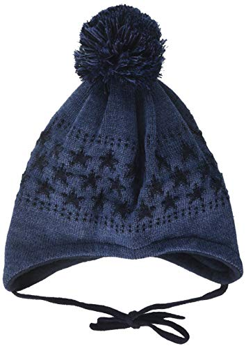 maximo Jungen mit Sternenmotiven und Pompon und Bindeband Mütze, Blau (Indigomel. 4),...