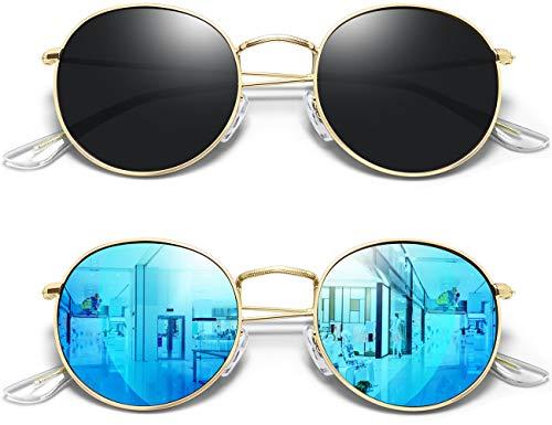 Joopin Lentes de Sol Mujer Polarizados Retro Dama Anteojos Redondos con 100% Protección UV Vintage Oro Negro Azul