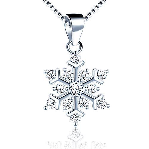 MicVivien Collar con colgante de copo de nieve, plata de ley con circonita cúbica chispeante copo de nieve con cadena de 45,72 cm