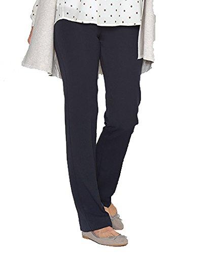 Love2Wait legere Leinen-Hose Leinenhose Damenhose Umstandshose Stretchhose- Gr. M (38-40) Herstellergröße: 30, Navy