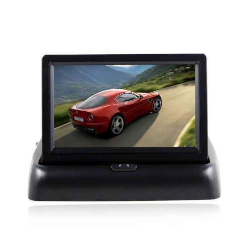 BW® 10,9 cm pliable écran LCD TFT voiture arrière vue arrière couleur Appareil Photo Écran 2 canaux d'entrée vidéo prend en charge voiture DVD/VCD Noir