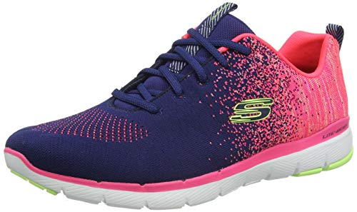 Skechers Flex Appeal 3.0, Zapatillas Mujer, Nvy Knit Coral Trim, 39 EU