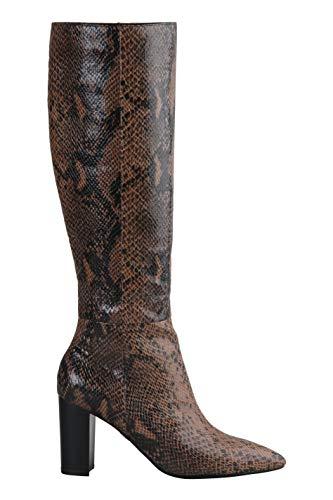 Buffalo Damen Stiefel Monica, Frauen Klassische Stiefel, Women's Woman Freizeit Boots langschaftstiefel hoher Absatz,Braun(Snake Brown),38 EU / 5 UK
