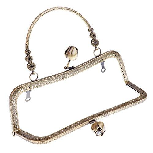 Homyl Metallrahmen Kuss-Verschluss Taschenrahmen Taschenbügel zum Einnähen Verschluss für Handtasche Münzbörse Geldbeutel - Bronze