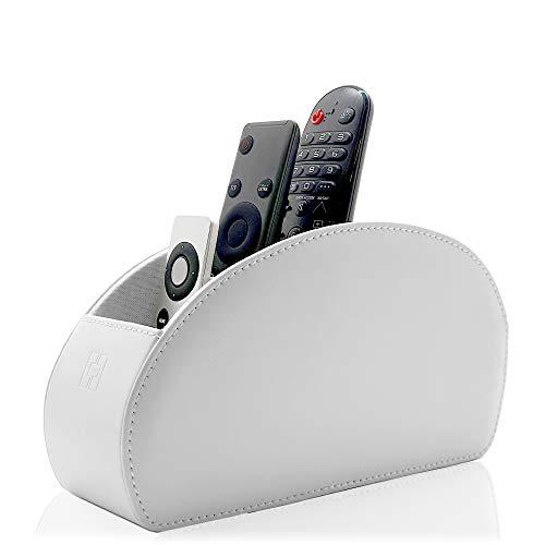 Connected Essentials - Porta-telecomando bianco, 5 scomparti, per telecomandi TV, DVD, Blu-Ray, CEG10, colore: Bianco