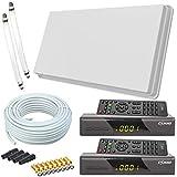 netshop 25 Selfsat H30D2+ Flachantenne Twin + 2 HD Receiver + 20m Kabel + Fensterhalterung + 2 Fensterdurchführung + 8 F-Stecker + 4 Wetterschutztüllen (Full HD 4K UHD Sat Anlage für 2 Teilnehmer)