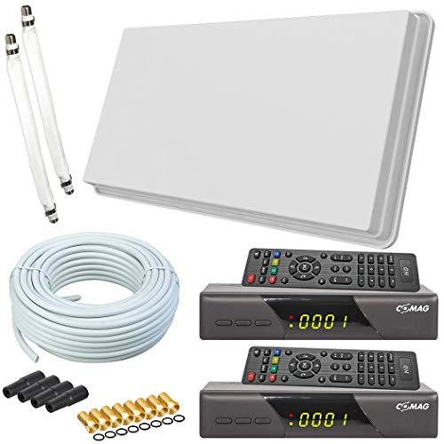 netshop 25 Selfsat H30D2+ Flachantenne Twin + 2 HD Receiver + 20m Kabel + Fensterhalterung + 2 Fensterdurchführung + 8 F-Stecker + 4 Wetterschutztüllen (Full HD 4K Sat Anlage für 2 Teilnehmer) Set